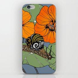 Snail on Nasturtiums iPhone Skin