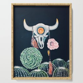 Cow Skull and Cacti on a Wolf Blood Moon Serving Tray