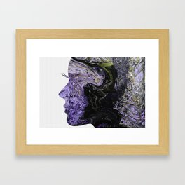Fluid Art Dirty Cup Pour Abstract Woman Face Silhouette Framed Art Print