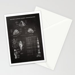 Apollo 11 Saturn V Command Module Blueprint in High Resolution (black) Stationery Cards