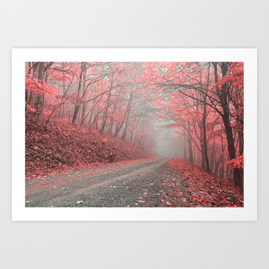 Misty Forest Road - Tickle Me Pink Art Print