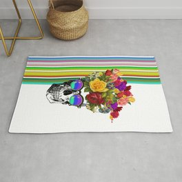 Colorful Cool Hip Skull with flowers Rug