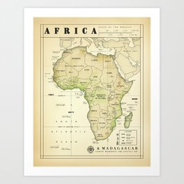 Africa and Madagascar [Vintage Inspired] Map print Art Print