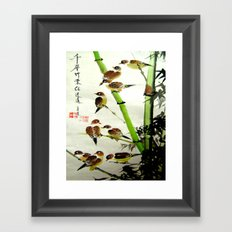 nine sparrows Framed Art Print