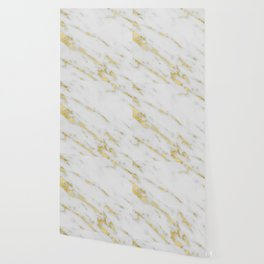 Marble - Shimmery Gold Marble on White Pattern Wallpaper