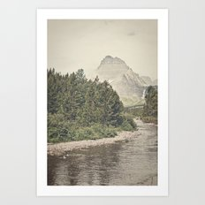 Retro Mountain River Art Print