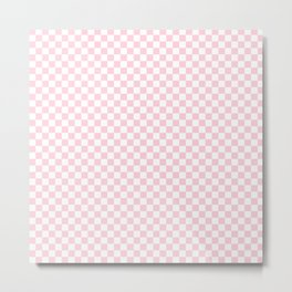 Light Soft Pastel Pink and White Checkerboard Metal Print