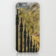 iron fence, yellow leaves iPhone 6s Slim Case