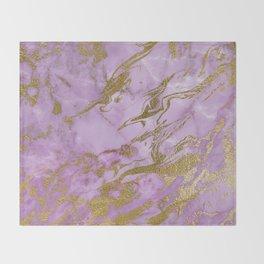 Lavender Gold Marble Throw Blanket