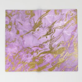 Lavender Gold Marble Throw Blanket