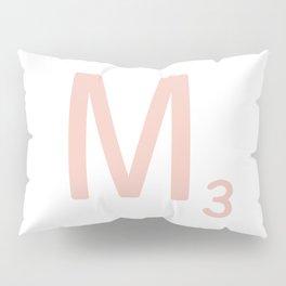 Pink Scrabble Letter M - Scrabble Tile Art and Accessories Pillow Sham