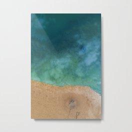 Blue Ocean Sea Shoreline - Drone photography Metal Print