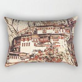 Bhutan Paro Taktsang Artistic Illustration Blossom Style Rectangular Pillow