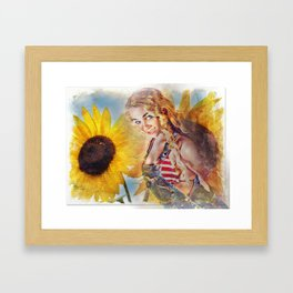 Sunflower Girl Framed Art Print