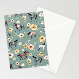 Horses and Sunrise Blue Floral, Horse Love, Wild Horses, Yellow and Pink Flowers Stationery Cards