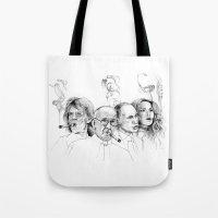 putin Tote Bags featuring Kuba by Andreas Derebucha