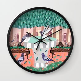 Pigeons in Central Park Wall Clock