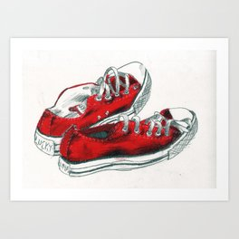 'Lucky and Luna' Sneakers Art Print