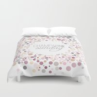 champagne Duvet Covers featuring Champagne Sunday by Twine Design