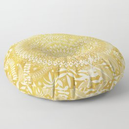 Medallion Pattern in Mustard and Cream Floor Pillow