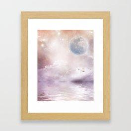 Swans Flying Over A Misty River Framed Art Print