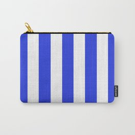Palatinate blue - solid color - white vertical lines pattern Carry-All Pouch