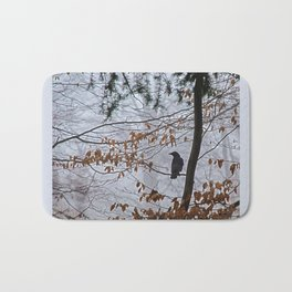 Crow in the mist Bath Mat