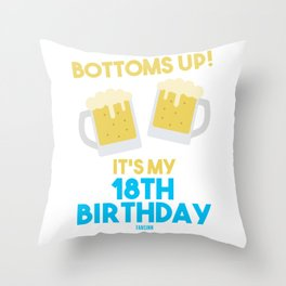 18 years birthday beer gift Throw Pillow