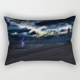 Twilight Lightning and Lighthouse Landscape by Jeanpaul Ferro Rectangular Pillow