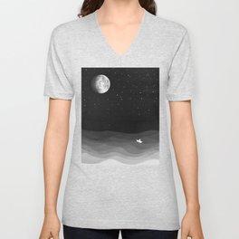 Moon phase, black and white, ocean Unisex V-Neck