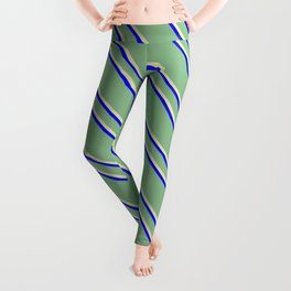 Dark Sea Green, Pale Goldenrod, and Blue Colored Striped Pattern Leggings