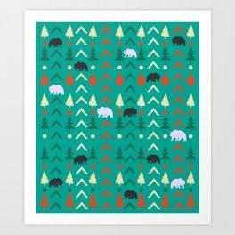 Winter bear pattern in green Art Print