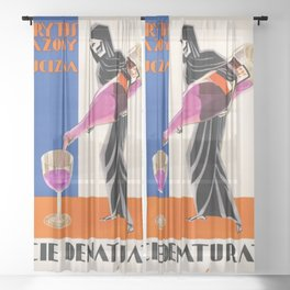 Vintage 1930 Drinking Absinthe Causes Death Alcoholic Beverage Advertising Poster Sheer Curtain