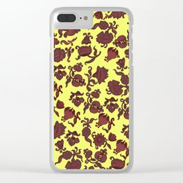 red flowers and leaves . art Clear iPhone Case