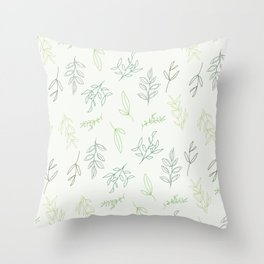 Falling Foliage - in greens Throw Pillow