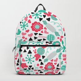 Pinky Candy and Floral Backpack
