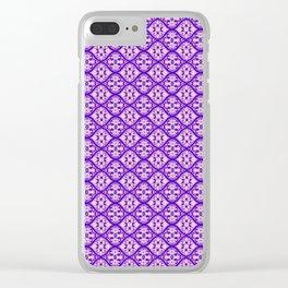 tie dye lattice in purple Clear iPhone Case