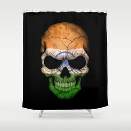 Dark Skull with Flag of India Shower Curtain
