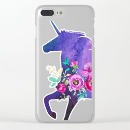 Watercolor floral unicorn Clear iPhone Case