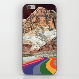 Trippy 1960s Stars and Moon Retro Red Rock Canyon Collage Milky Way Galaxy Colors iPhone Skin