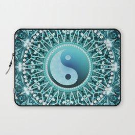 Tranquility Yin Yang Blue Aqua Mandala Laptop Sleeve
