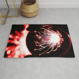 Red Glitter Firework In Sphere Rug