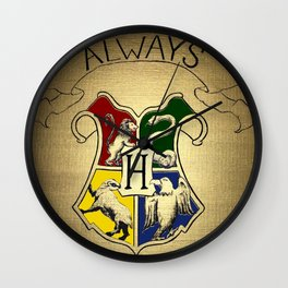 Always - Hogwarts emblem containing Sytherin, Gryffindor, Ravenclaw and Hufflepuff house animals Wall Clock