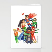 justice league Stationery Cards featuring Justice League Hug! by Super Group Hugs