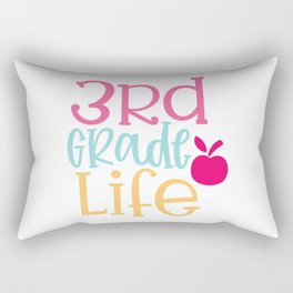 3Rd Grade Life Design - Funny School humor - Cute typography - Lovely kid quotes illustration Rectangular Pillow