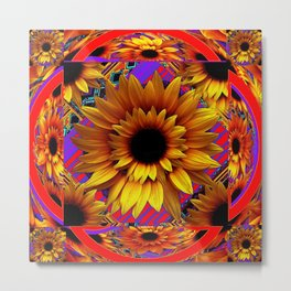 GOLDEN SUNFLOWERS  RED-VIOLET AESTHETIC PATTERN Metal Print