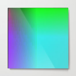 Cyan Green Purple Red Blue Black ombre rows and column texture Metal Print