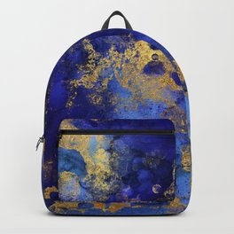 Gold And Spring Blue Indigo Malachite Marble Backpack