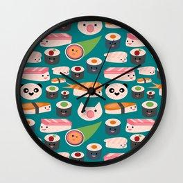 Kawaii sushi teal Wall Clock