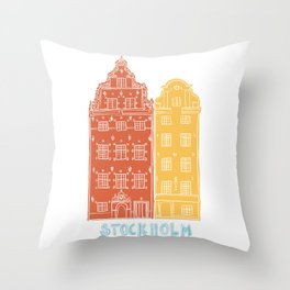 Stockholm old town - Gamla Stan facades Throw Pillow